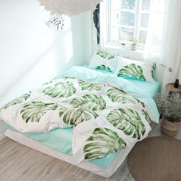 Tropical plant big green leaves reversible duvet cover 100% cotton single bed linen Queen size bedding set green fitted sheet