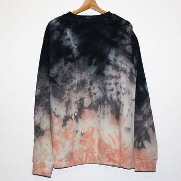 Marble Tie Dye Crew Neck Jumper Grey/Peach