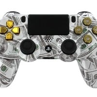 """""""Money Talks* Real Gold 9mm Bullet Buttons"""" PS4 Custom Designed/Proffessionaly Painted Controller by Gimika"""