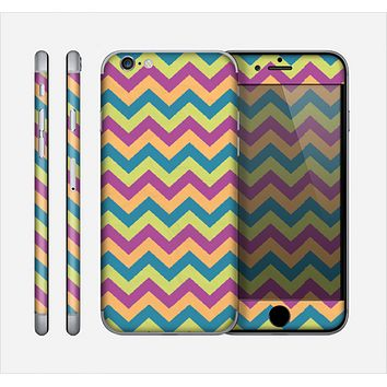 The Retro Colored Green & Purple Chevron Pattern Skin for the Apple iPhone 6