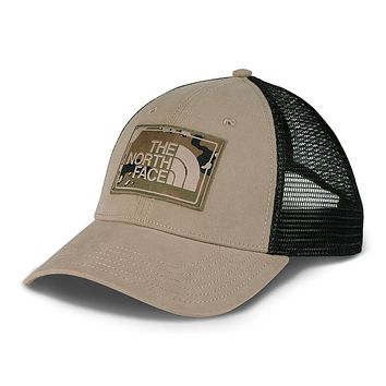 Mudder Trucker Hat in Dune Beige & Burnt Olive Green Camo by The North Face - FINAL SALE