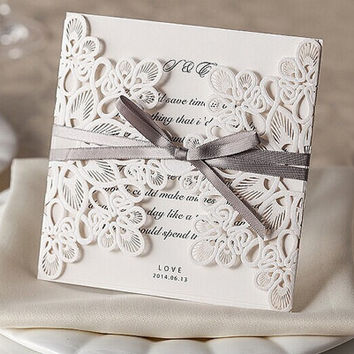 New 50pcs Happy Wedding Party laser invitation cards and Wedding invitation Wholesale