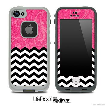 Mixed Pink Laced Floral and Chevron Pattern Skin for the iPhone 5 or 4/4s LifeProof Case