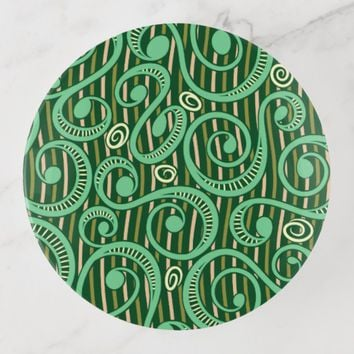 Caribbean Forest Green Vines Round Trinket Tray