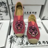 Women Casual Embroidery Tiger Head Hand Made Weave Cloth Shoes Single Shoes Lazy Flats Shoes
