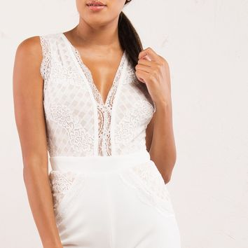 White Lace Deep V Romper