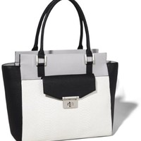 COLOR BLOCK FRONT POCKET TOTE