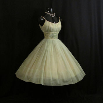 Vintage 1950's 50s Mint Green Ruched Beaded Rhinestones Chiffon Organza Party Prom Wedding Dress Gown Medium Size