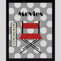 Movies Action Showtime Popcorn Home Theater Art Prints CUSTOMIZE YOUR COLORS, 8x10 or 11x14 Prints, Movies, Home Theater Wall Decor Wall Art