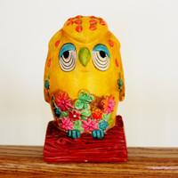 Vintage Yellow 1960s Owl Piggy Bank with Flowers and Butterflies Sitting on a Branch