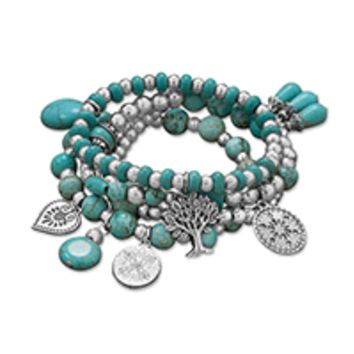 Silver Tone Multicharm Fashion Stretch Bracelets with Reconstituted Turquoise