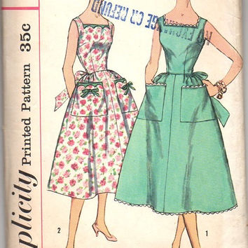 1950s Simplicity 2113 Sewing Pattern Vintage Style Retro Tea Garden Party Dress Apron Sundress Rockabilly Bust 36