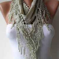Light Green Shawl / Scarf with Lace Edge by SwedishShop on Etsy