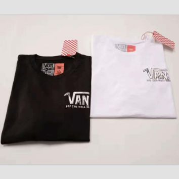 Vans Women With Men Fashion Cartoon Print Casual Blouse Tee Top G-A-XYCL