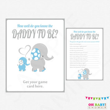 Blue Elephant Baby Shower Games, How well do you know the DADDY to be, Blue Elephant Baby Shower Printables Boy, Instant Download, ELLBG