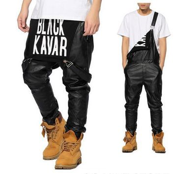 Men's Leather SWAG Logo Detailed Faux Leather Overalls