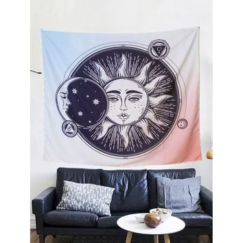 Sun & Moon Print Ombre Tapestry