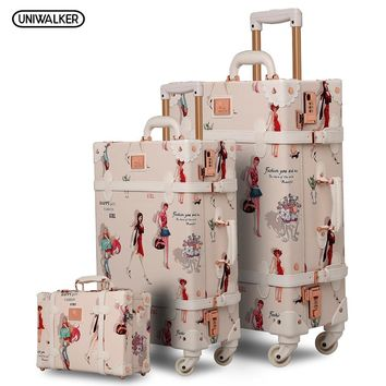 "12"" 20"" 26"" 3PCS set Fashion Girl Retro Rolling Luggage Bagages Pu Suitcase Trunk Vintage Luggages With Spinner Wheels for Women"