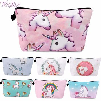 FENGRISE Unicorn Cosmetic Bags 3D Printing Girls Lady Makeup Bags Unicorn Party Favors Girl Birthday Gifts Women Party Supplies
