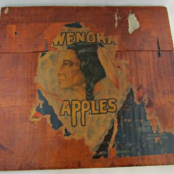 Fruit Crate Wood Wenoka Fruit Company Label Re Purposed Rustic Primitive Wall Hanging Vintage