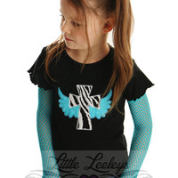 Cross with Wings Applique Punk Sleeve Shirt for Girls