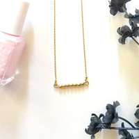 Tiny Bead Bar Necklace, Dainty Gold Bead Bar Necklace, Delicate Brass Stacking Bracelet