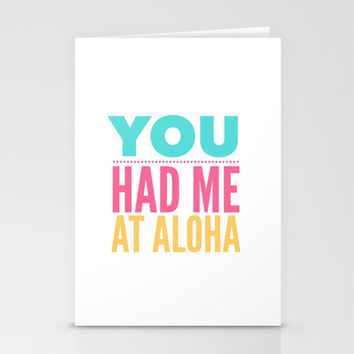 You Had Me At Aloha | Bright Summer Text Stationery Cards by Inspire Your Art
