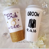 Bride and Groom Travel Mugs