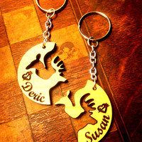 Personalized Laser Cut Wooden Buck & Doe Interlocking Key Chains FREE SHIPPING