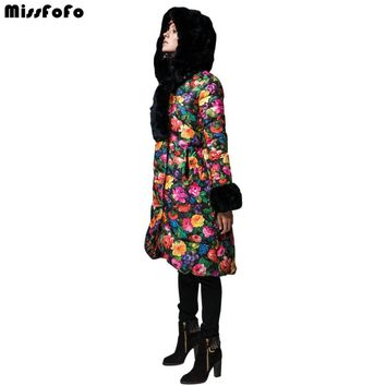 Women's Down Coats and Jackets Real Rabbit Fur Hood Fashion Cloak Casual Female Long Thickening Jacket Flower