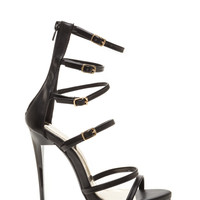 Quick Six Faux Leather Caged Heels