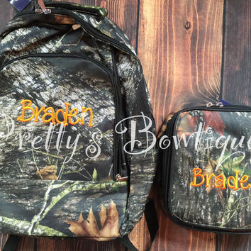 Monogrammed Backpack-- Book bag Monogrammed -- Lunch Box monogram-- Personalized bag-- Monogrammed Bookbag and Lunch Box-- Camo