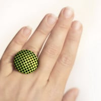 Green ring, Polka dots ring, Geometric jewelry, Contemporary jewelry, Black & green jewelry, Polymer clay ring, 3D effect ring, Geometric