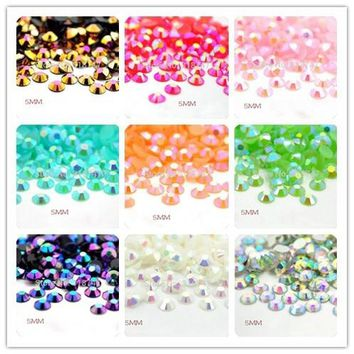 Lucia crafts 500pcs 5MM Multicolor AB Flatback Resin Rhinestones DIY Mobile Phone Nail Art Craft 120405231(AB500)