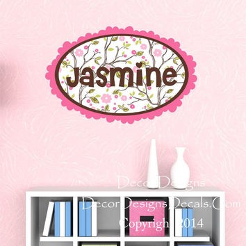 Woodland Girls Name Wall Decal- woodland decal, tree decal, woodland decor, woodland sticker, forest animals decor, nursery room decor