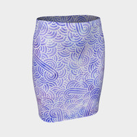 Lavender and white swirls doodles Fitted Skirt Fitted Skirt