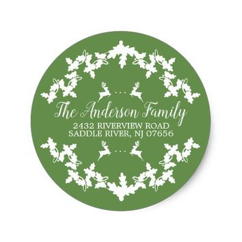 Green Holly Berry Return Address Round Sticker