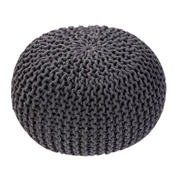 Handmade Round Knitted Pouf | Charcoal Gray | 50x35cm