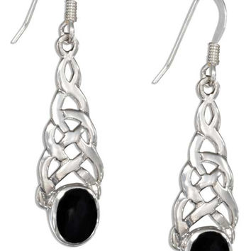 STERLING SILVER CELTIC KNOT EARRINGS WITH SIMULATED ONYX OVAL