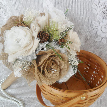 Rustic Bouquet, Woodland Bouquet, Fabric Bridal Bouquet, Burlap Wedding Bouquet, Wedding Accessory, Burlap & Lace Bouquet,Vintage Bouquet,