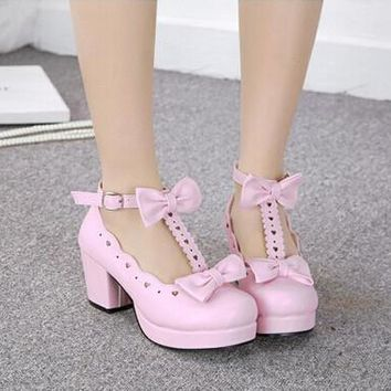 Lolita high heels white pink black cosplay shoes sweet cute girl shoes