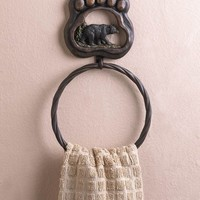Black Bear Paw Towel Ring Bathroom Accessory