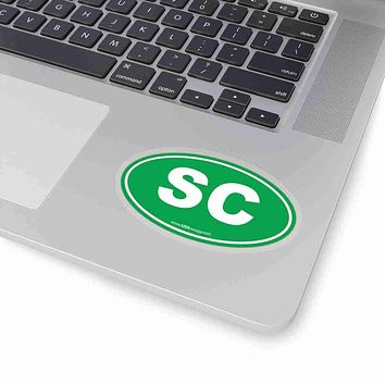 South Carolina SC Euro Oval Sticker SOLID GREEN