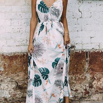 White V-neck Leaf Print Drawstring Waist Maxi Dress