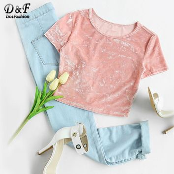 Dotfashion Crushed Velvet T-shirt Women Pink Short Sleeve Sexy Slim Fit Summer Crop Tops 2018 Casual Stretchable Cute T-shirt