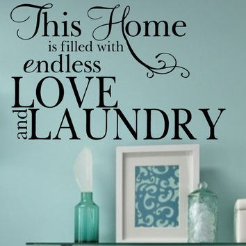 Love and Laundry Vinyl Wall Decal Quote Home Lettering
