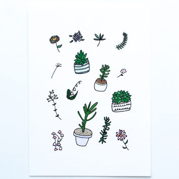 Plants and Flowers Art Print - 5x7