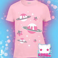 Kawaii Fairy Kei Pastel Goth Milky Stars and Planets Graphic Tee Multiple Colors