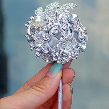 4piece/lot Handmade Upscale Boutonniere Pin Crystal  Flowers