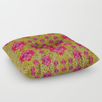 Fantasy-flowers to brighten up in gold Floor Pillow by Pepita Selles
